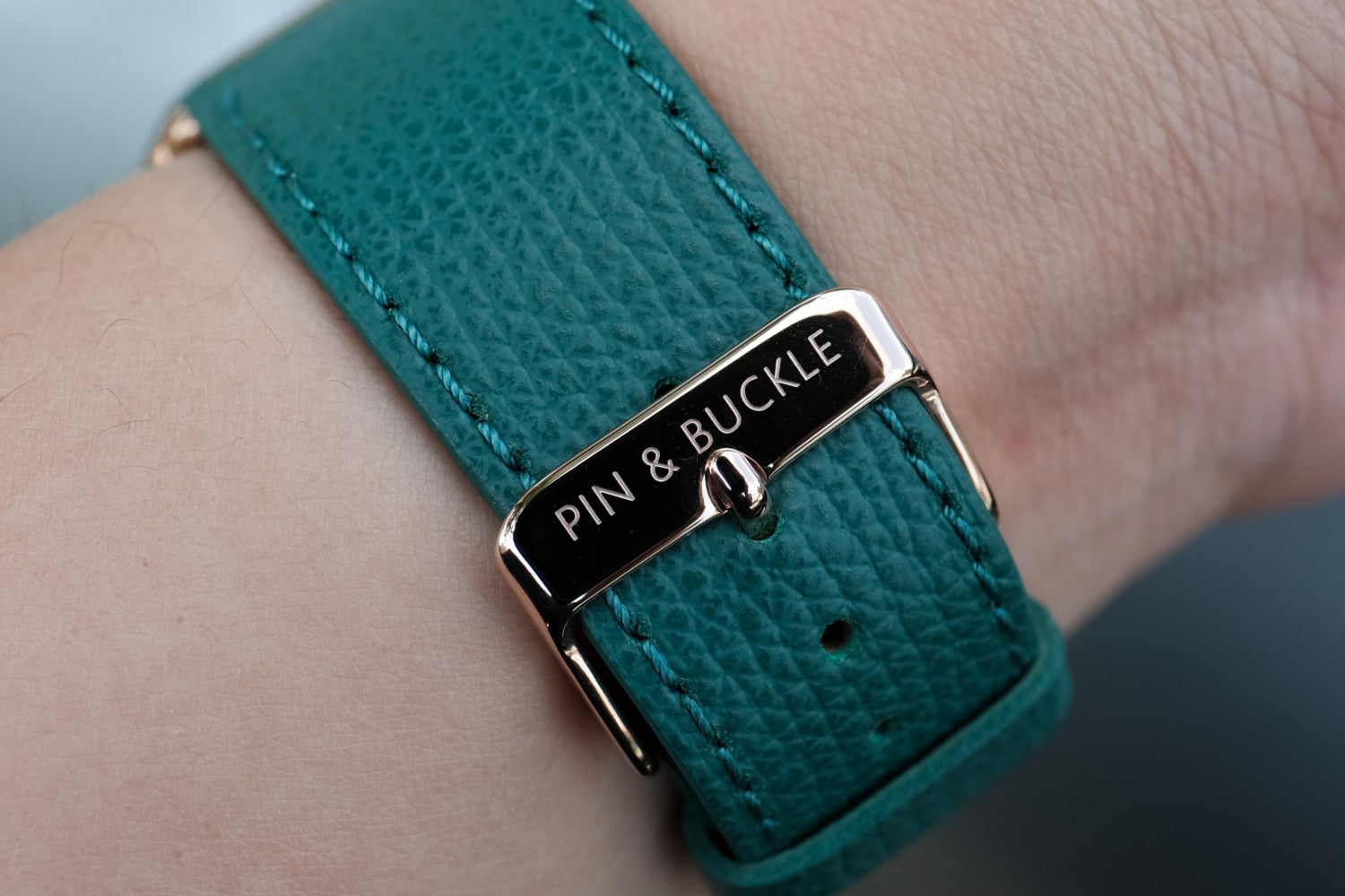 Pin and Buckle Apple Watch Bands - Epsom - Leather Apple Watch Band - Forest Green - Polished Stainless Steel Buckle