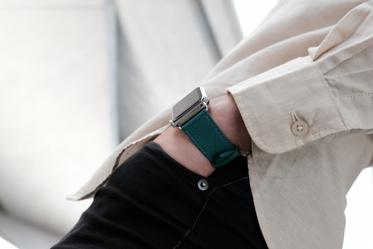 Epsom Leather Apple Watch Bands by Pin & Buckle - Forest Green