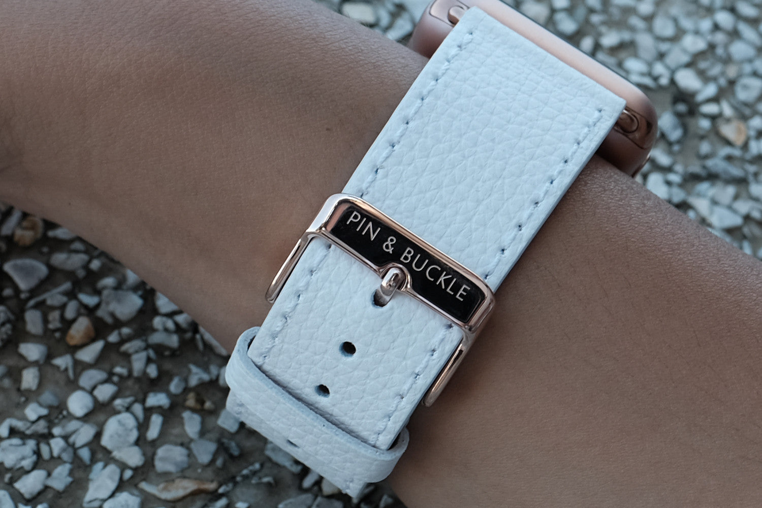 Pin and Buckle Apple Watch Bands - Epsom - Leather Apple Watch Band - Ivory White - Polished Stainless Steel Buckle