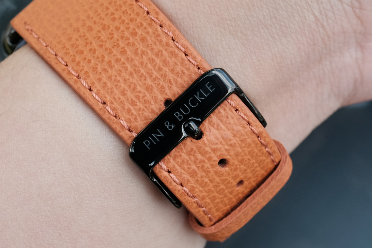 Pin and Buckle Apple Watch Bands - Epsom - Leather Apple Watch Band - Royal Orange - Polished Stainless Steel Buckle