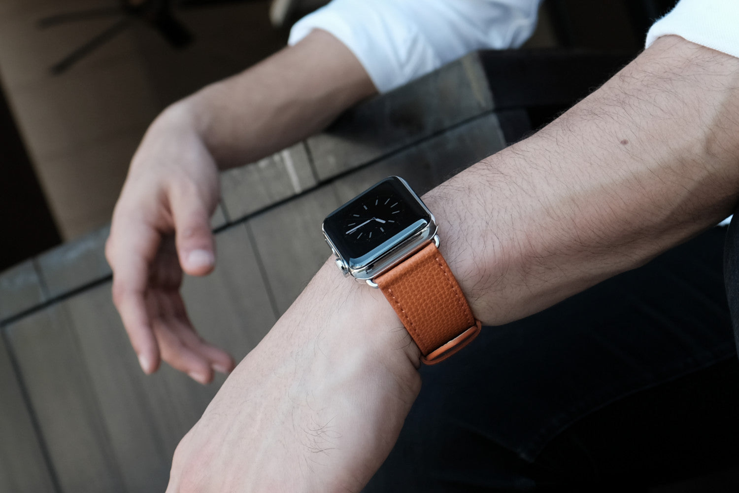 Epsom Leather Apple Watch Bands by Pin & Buckle - Royal Orange
