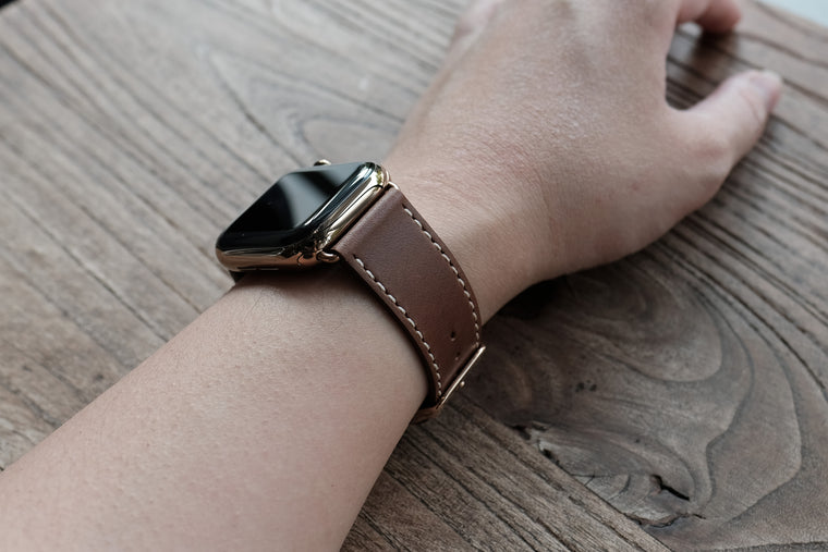 Leather Apple Watch Bands by Pin & Buckle - Luxe - Chestnut Brown