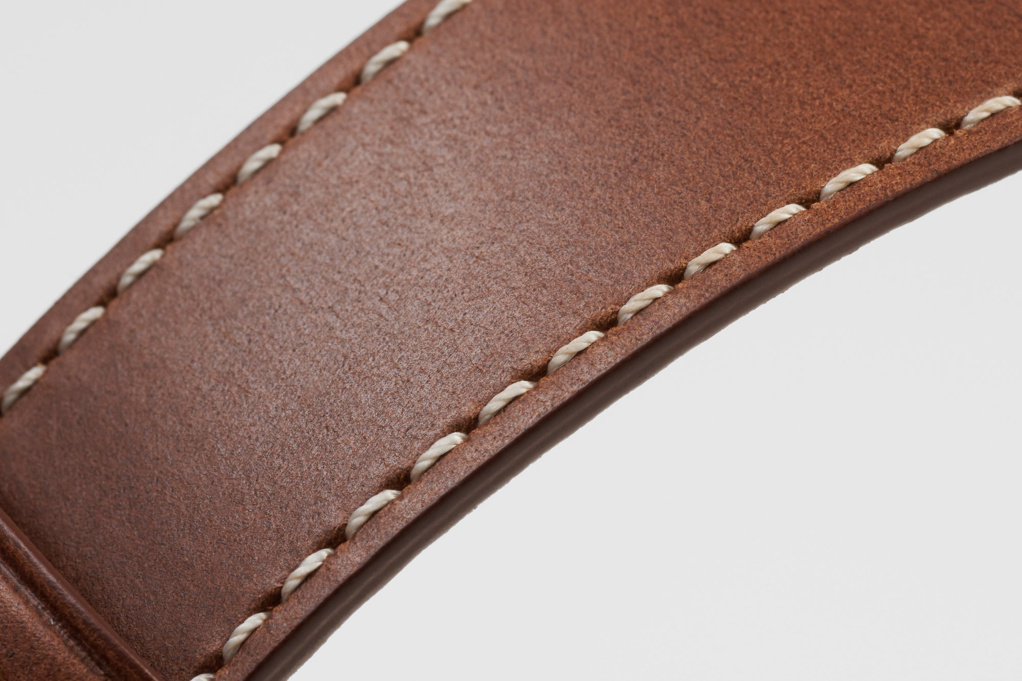 Pin and Buckle Apple Watch Bands - Full Grain Vegetable Tanned Leather - Luxe - Chestnut Brown - Off-White Stitch
