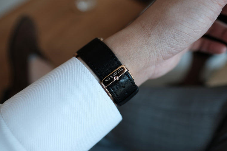 Leather Apple Watch Bands by Pin & Buckle - Luxe - Nero Black