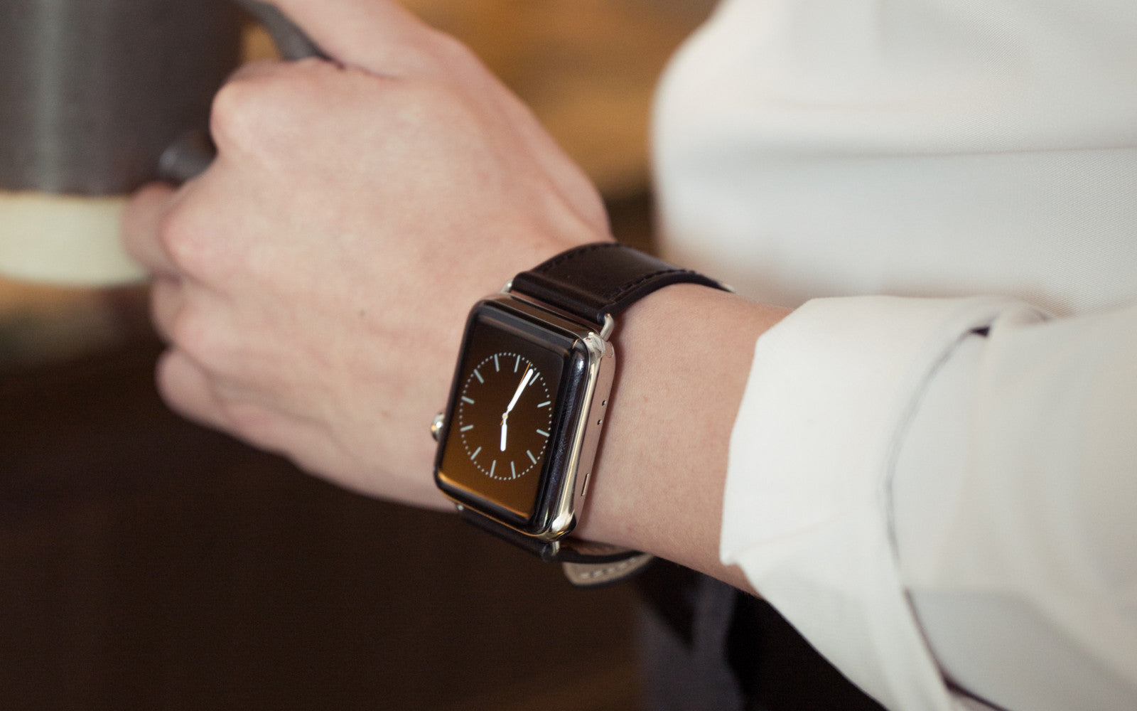 Pin and Buckle Apple Watch Bands - Full Grain Vegetable Tanned Leather - Luxe - Nero Black - Silver - 2