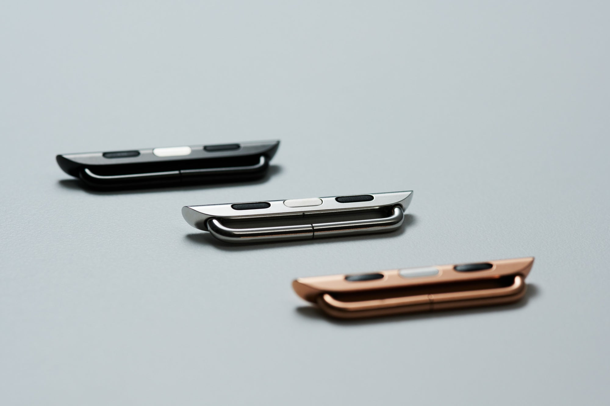 Leather Apple Watch Bands by Pin & Buckle - Polished Stainless Steel Adapters in Silver Gold and Black