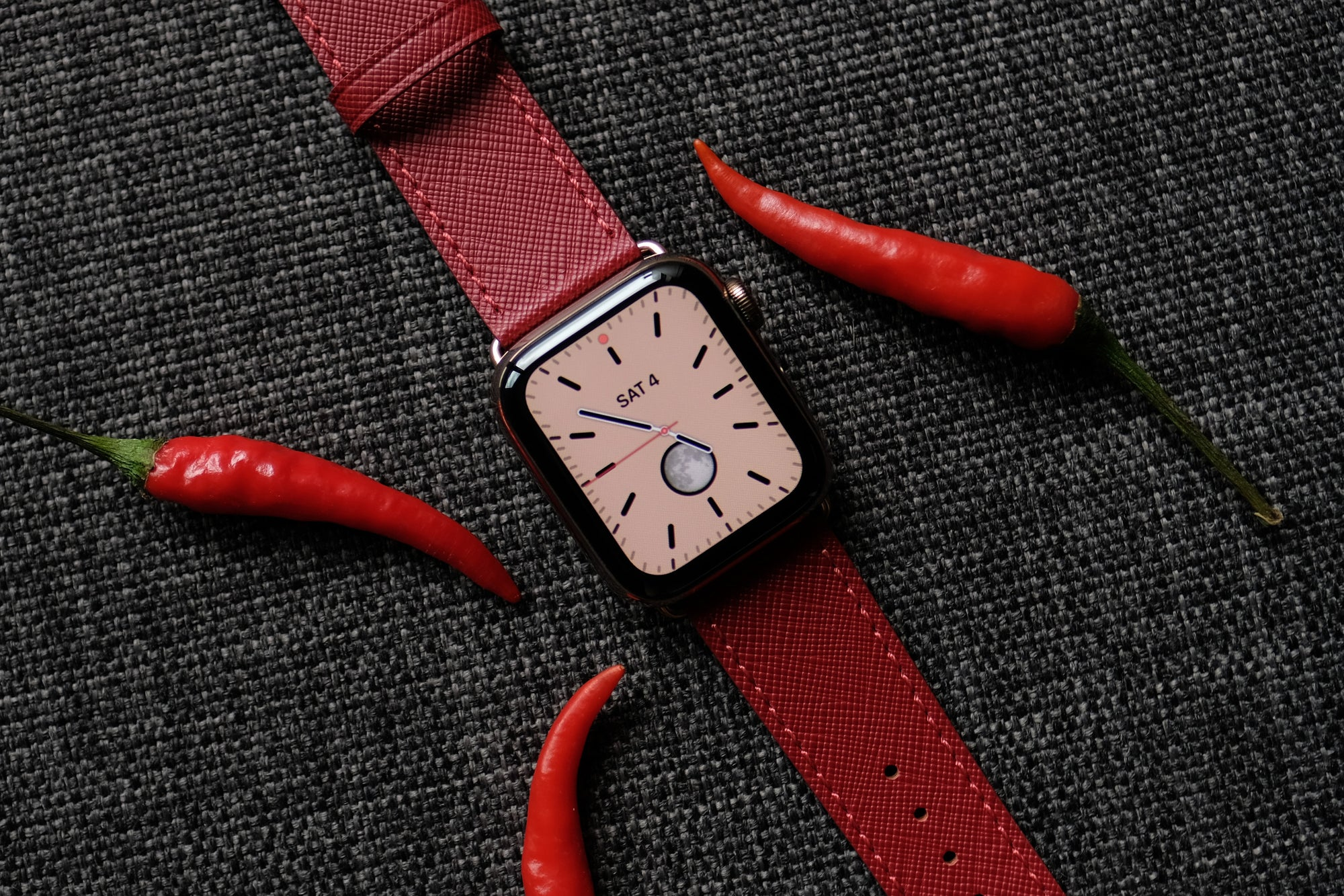 Pin and Buckle Saffiano Leather Apple Watch Band - Crimson Red