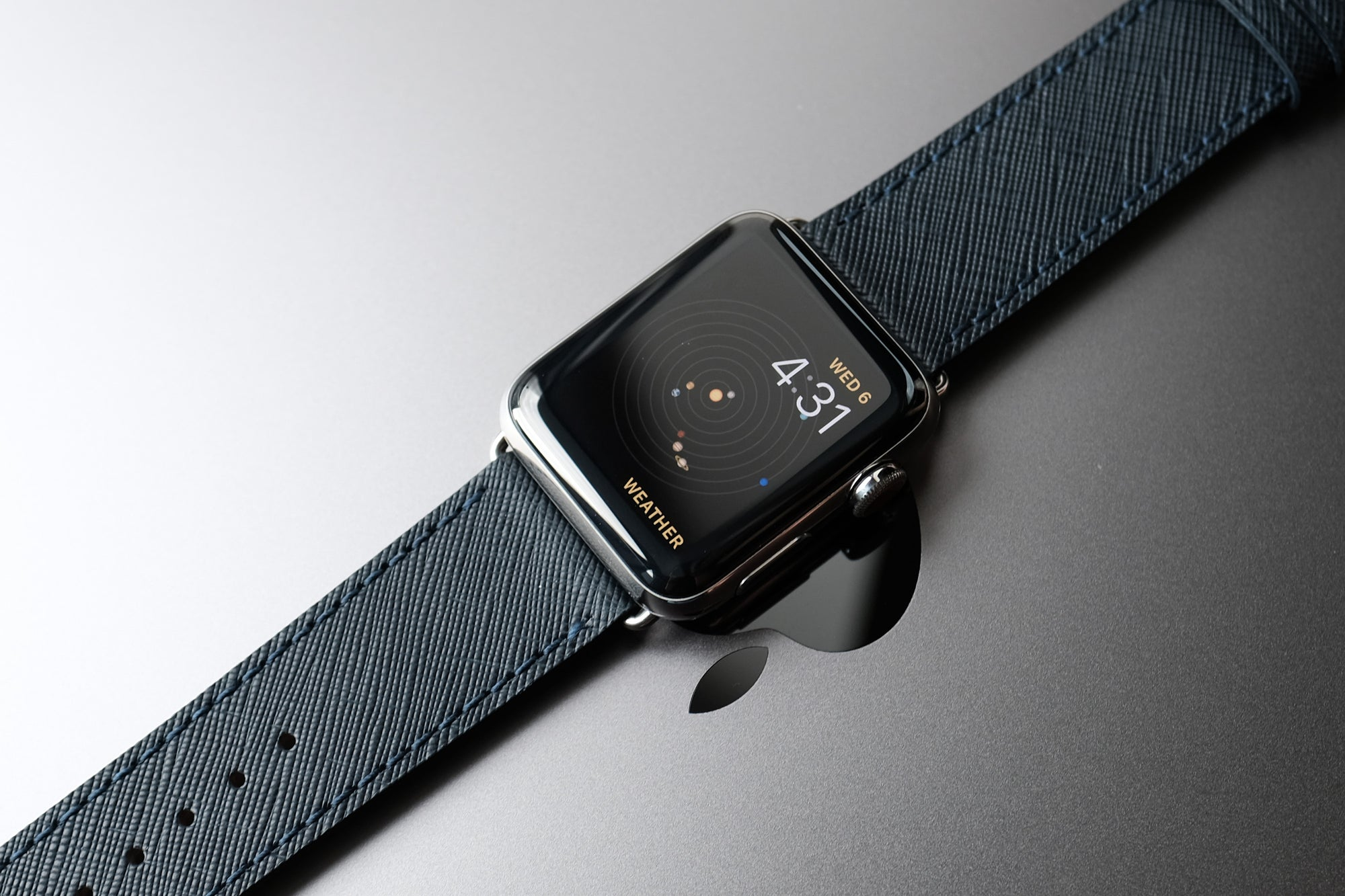 Saffiano Leather Apple Watch Bands by Pin & Buckle - Navy Blue