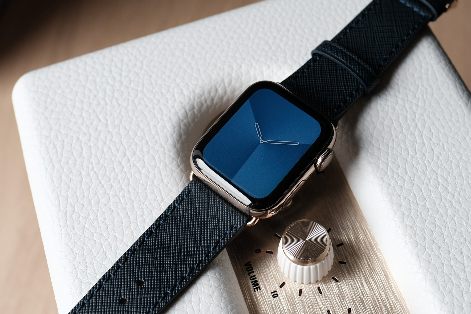 Pin and Buckle Apple Watch Bands - Saffiano - Textured Leather Apple Watch Bands - Navy Blue