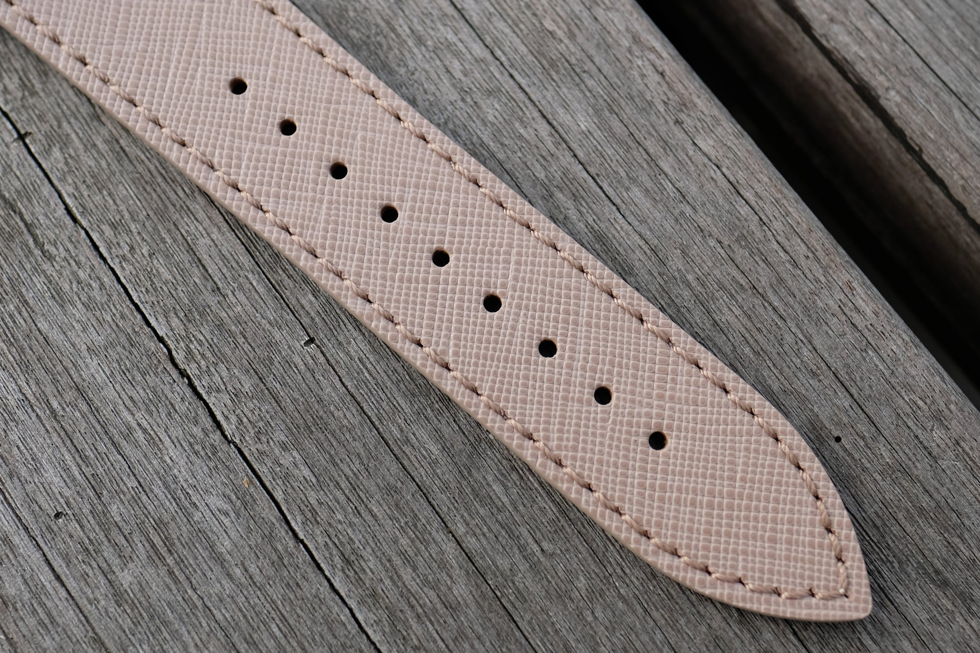 Pin and Buckle Apple Watch Bands - Saffiano - Textured Leather Apple Watch Bands - Texture - Taupe