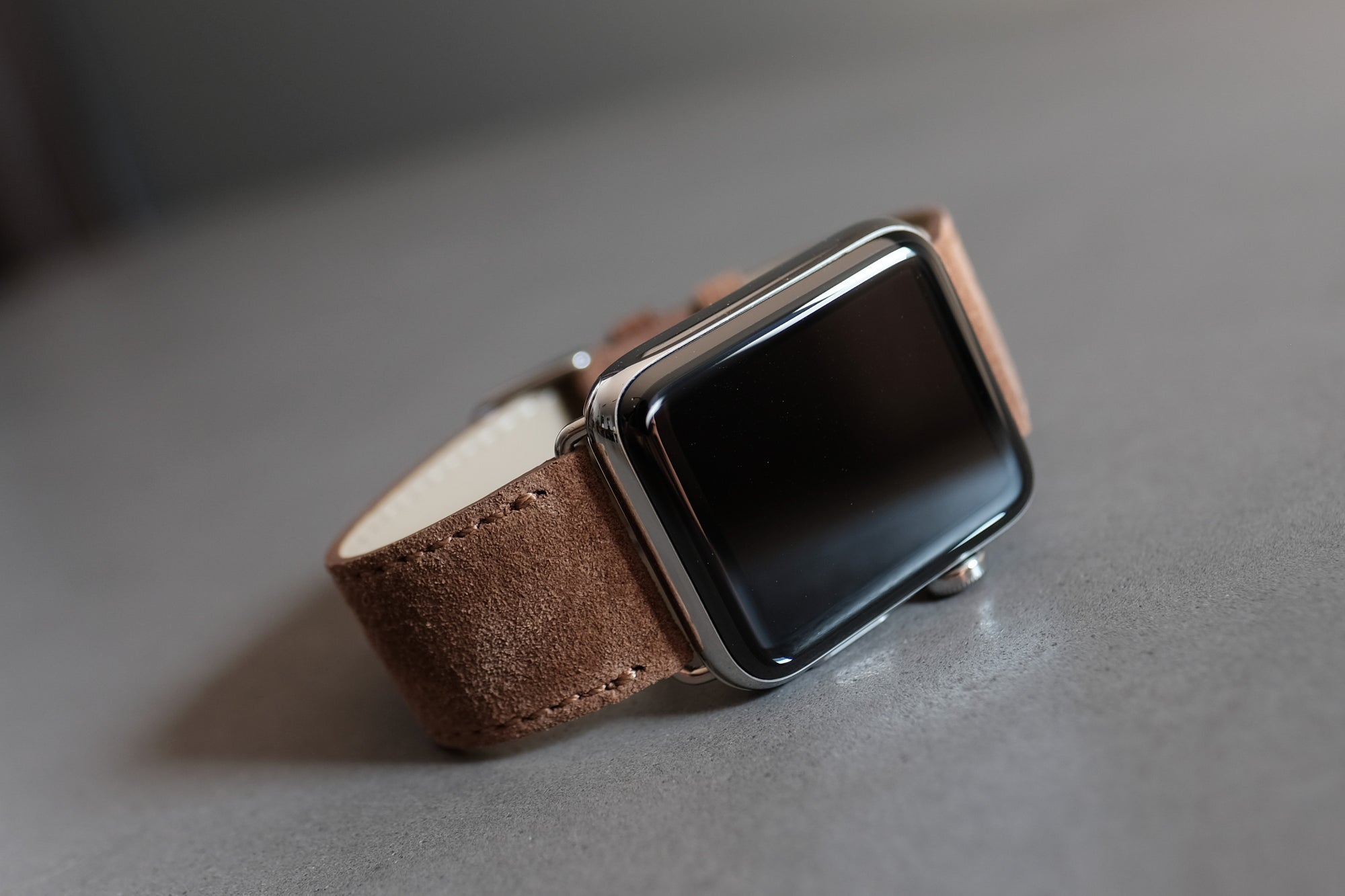 Pin and Buckle Apple Watch Bands - Velour - Suede Leather Apple Watch Band - Cognac