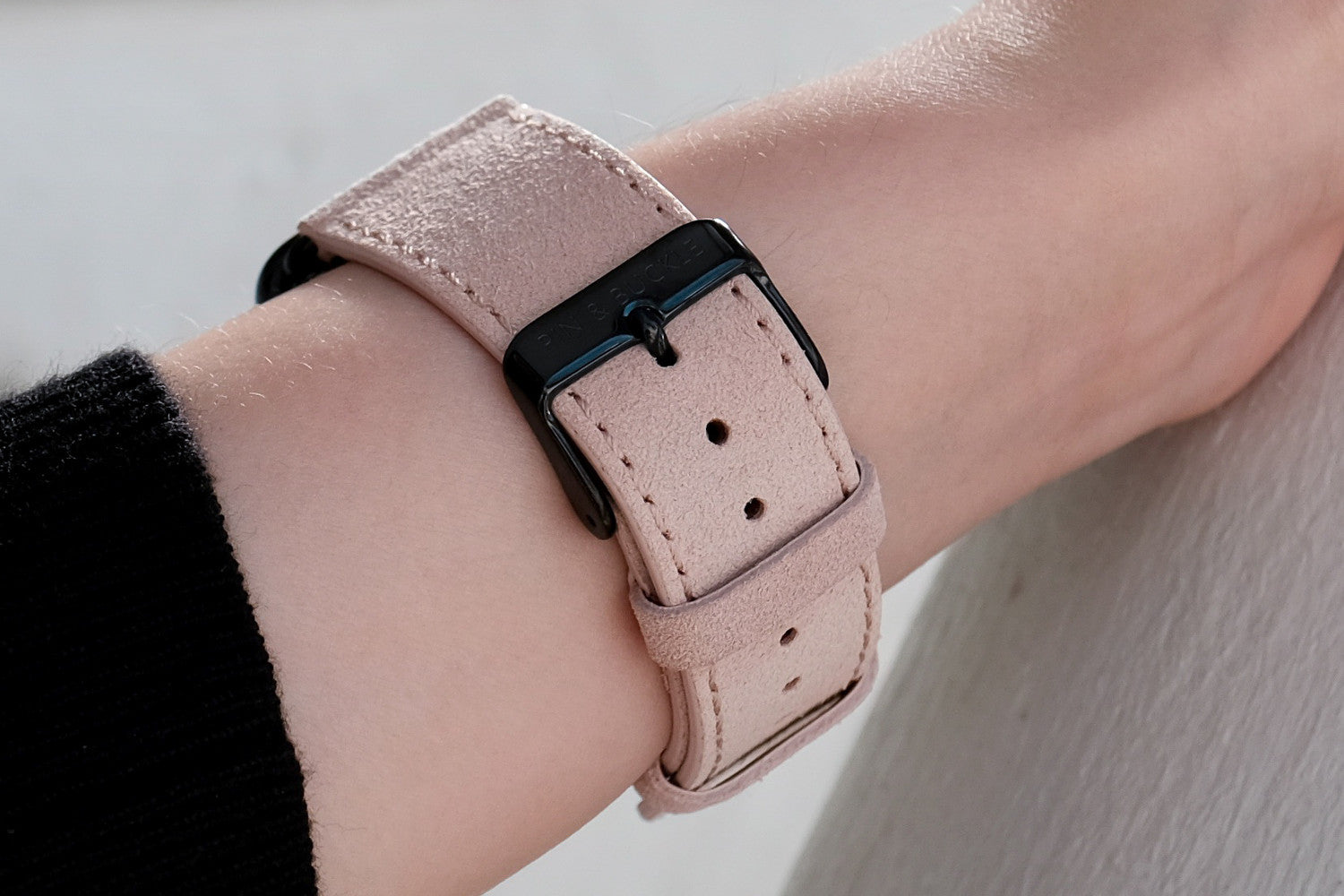 Pin and Buckle Apple Watch Bands - Velour - Suede Leather Apple Watch Band -  Peach - French Suede