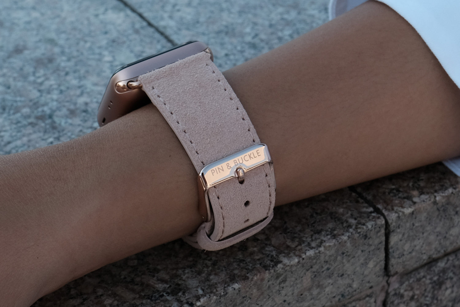 Pin and Buckle Apple Watch Bands - Velour - Suede Leather Apple Watch Band -  Peach - Polished Stainless Steel Buckle