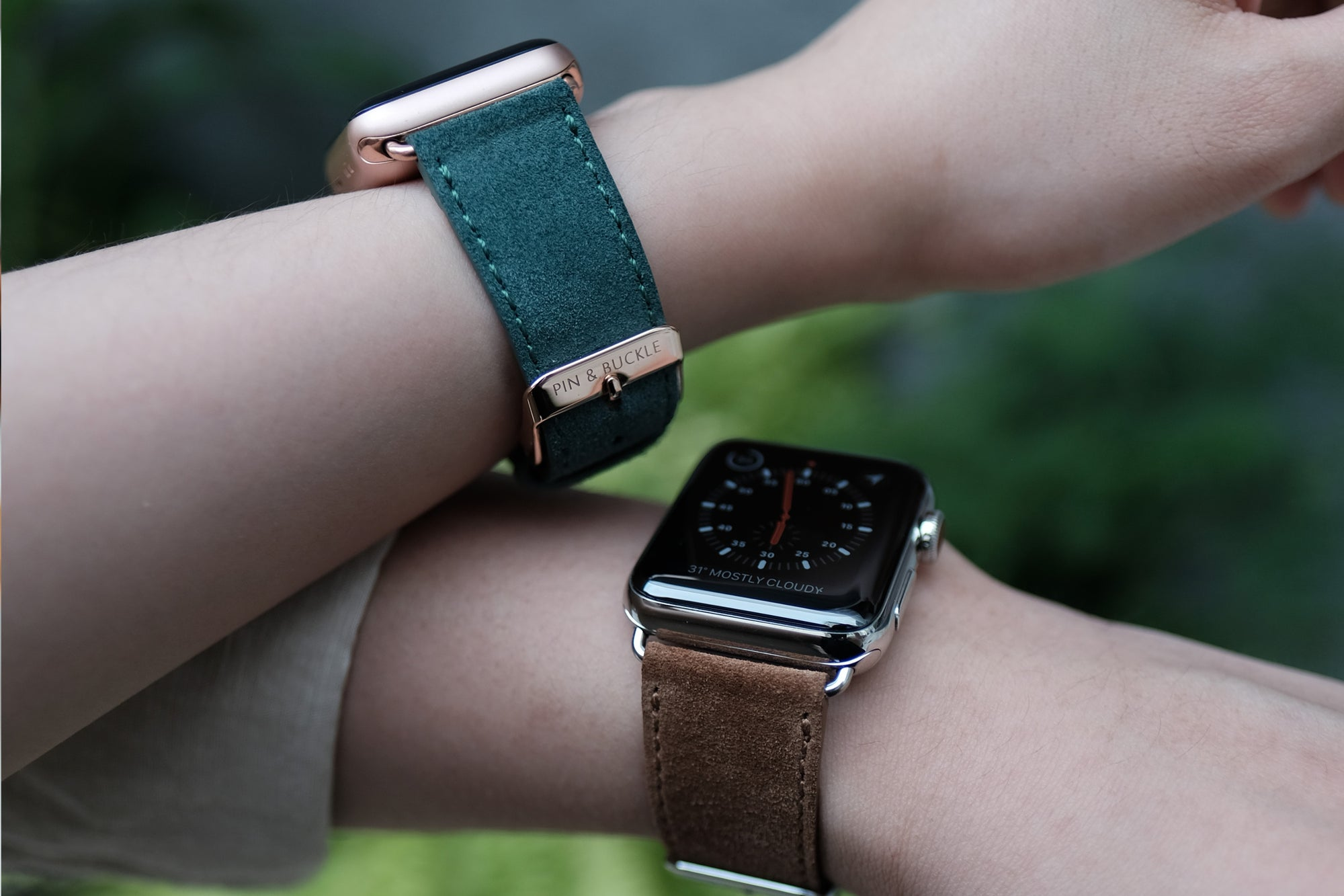 Pin and Buckle Apple Watch Bands - Velour - Suede Leather Apple Watch Band - Pine and Cognac