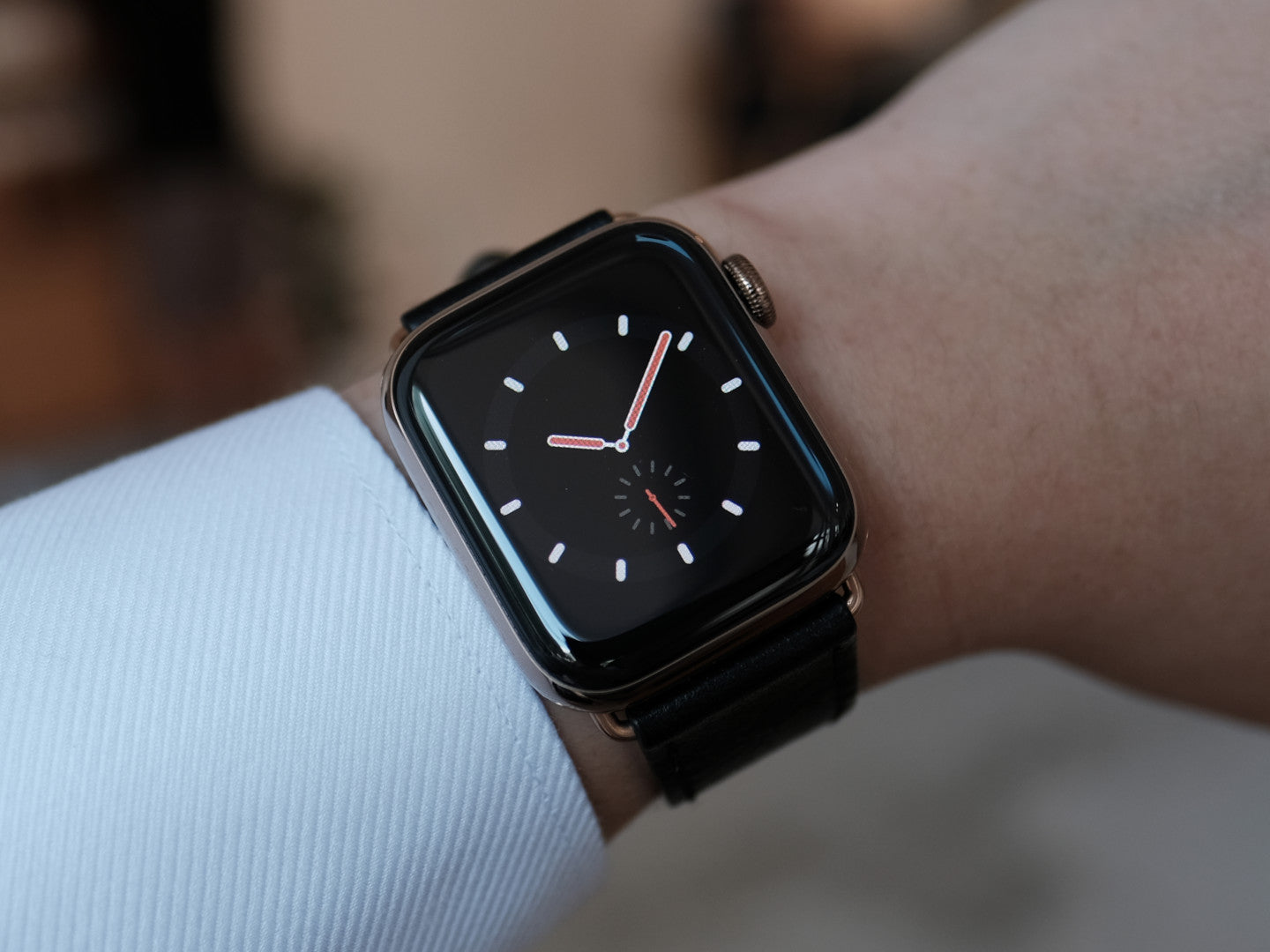 Pin and Buckle Apple Watch Leather Bands - Full Grain Vegetable Tanned Leather - Luxe - Nero Black - Explorer - Red-White