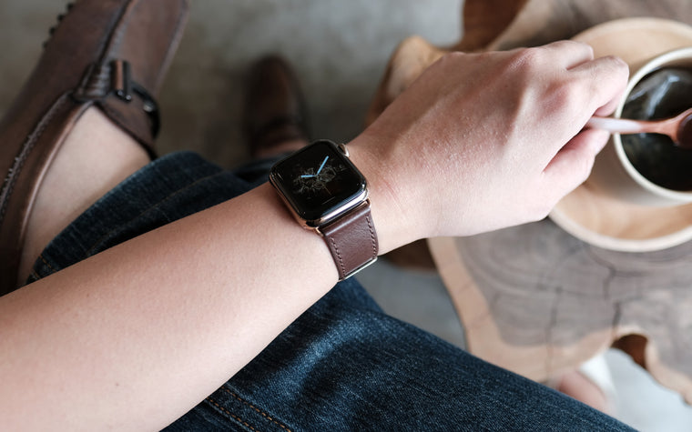 Pin and Buckle Apple Watch Straps - Full Grain Vegetable Tanned Leather - Luxe - Mocha Brown