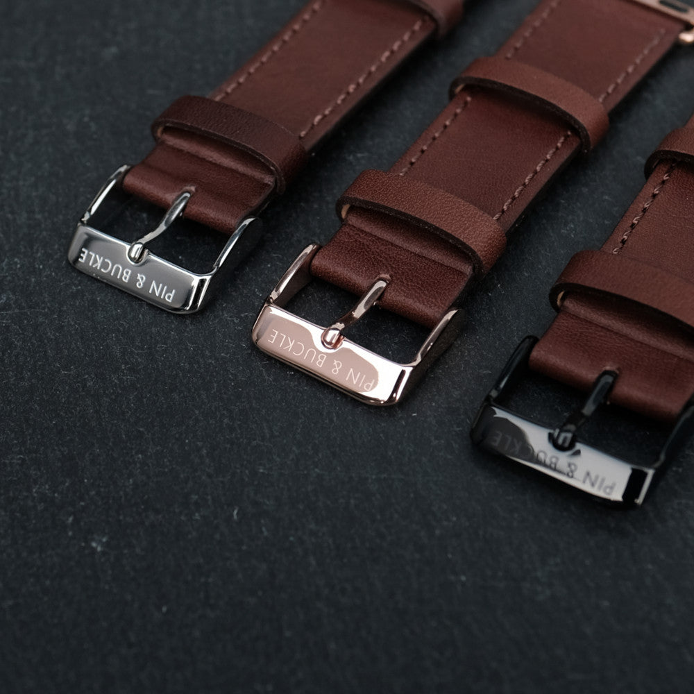Pin and Buckle Apple Watch Bands - Stainless Steel Buckle Finished in High Polish