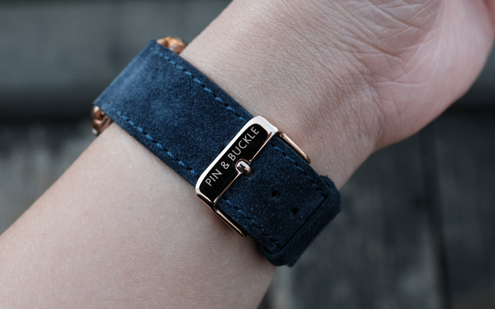 Pin and Buckle Apple Watch Bands - Velour - Suede Leather Apple Watch Band - Azure Blue -  Polished Stainless Steel Buckle in Silver Rose Gold Black