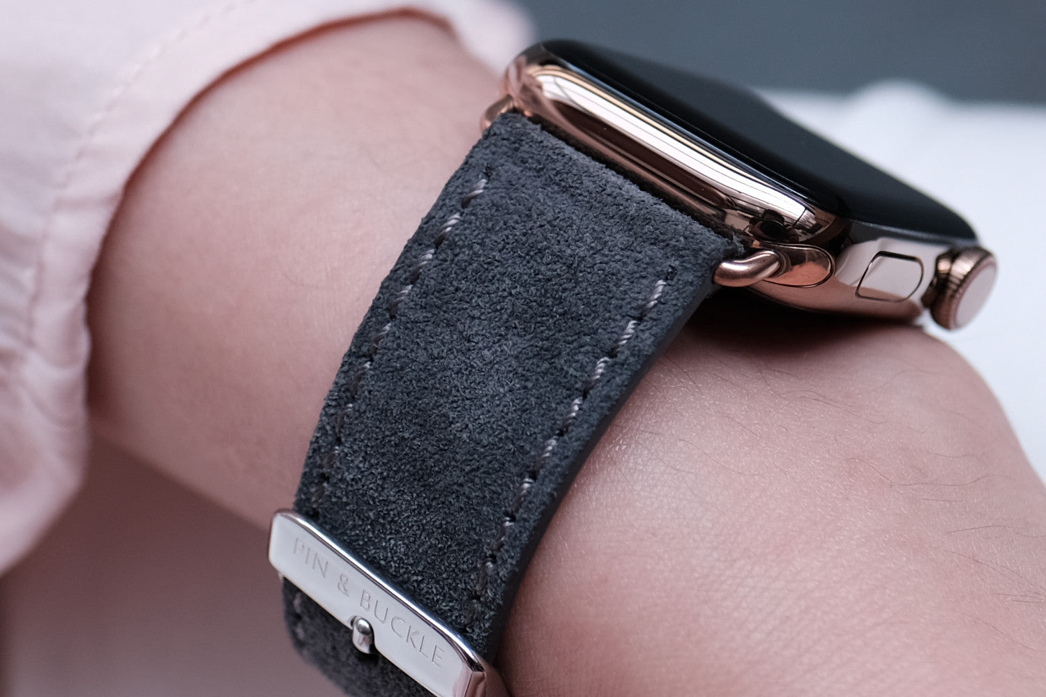 Pin and Buckle Apple Watch Straps - Velour - Suede Leather Apple Watch Strap - Pebble Grey - French Suede