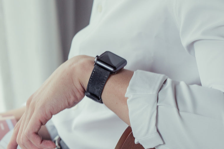Suede Apple Watch Bands by Pin & Buckle - Velour - Pebble Grey