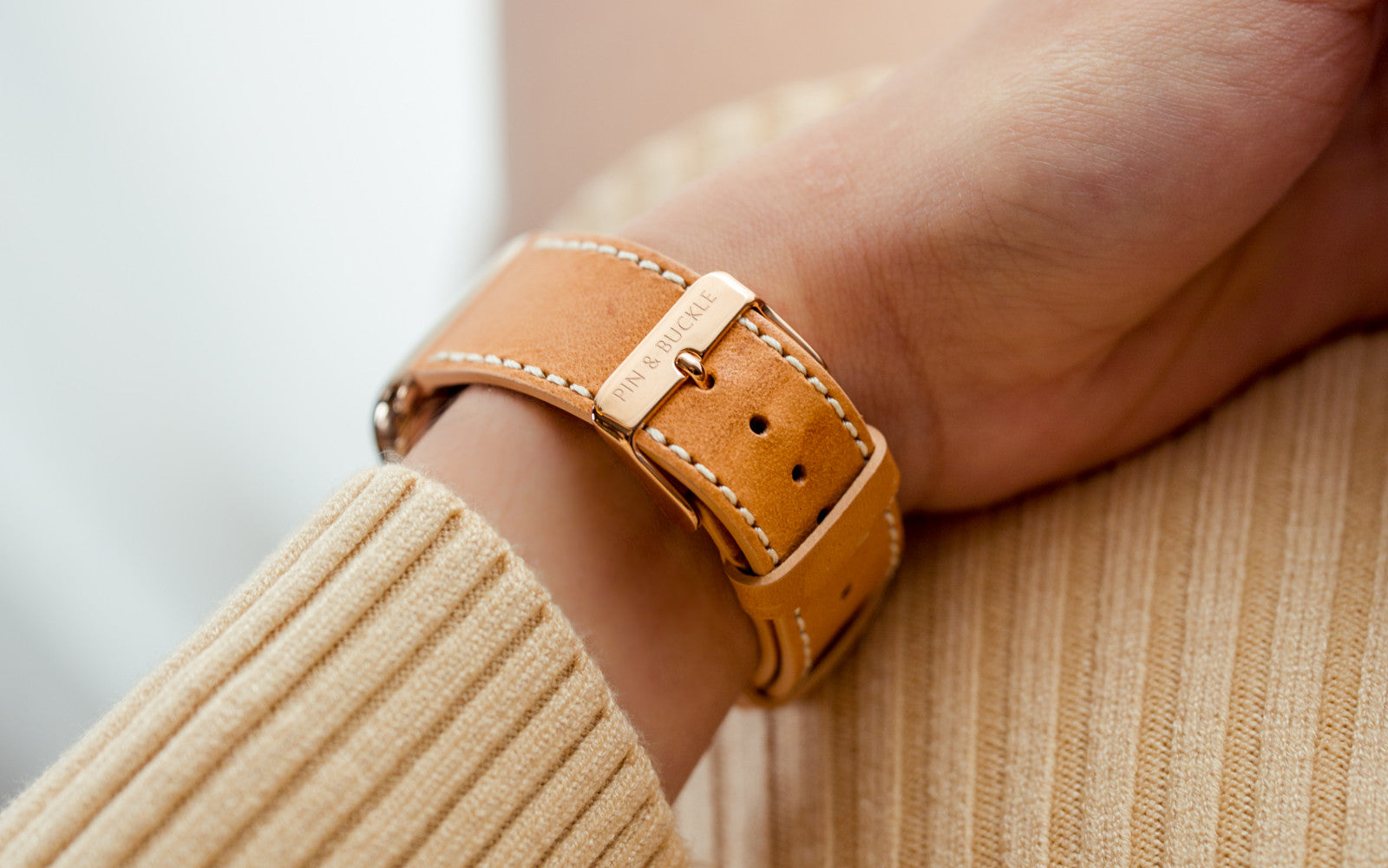 Vachetta Leather Apple Watch Band by Pin & Buckle