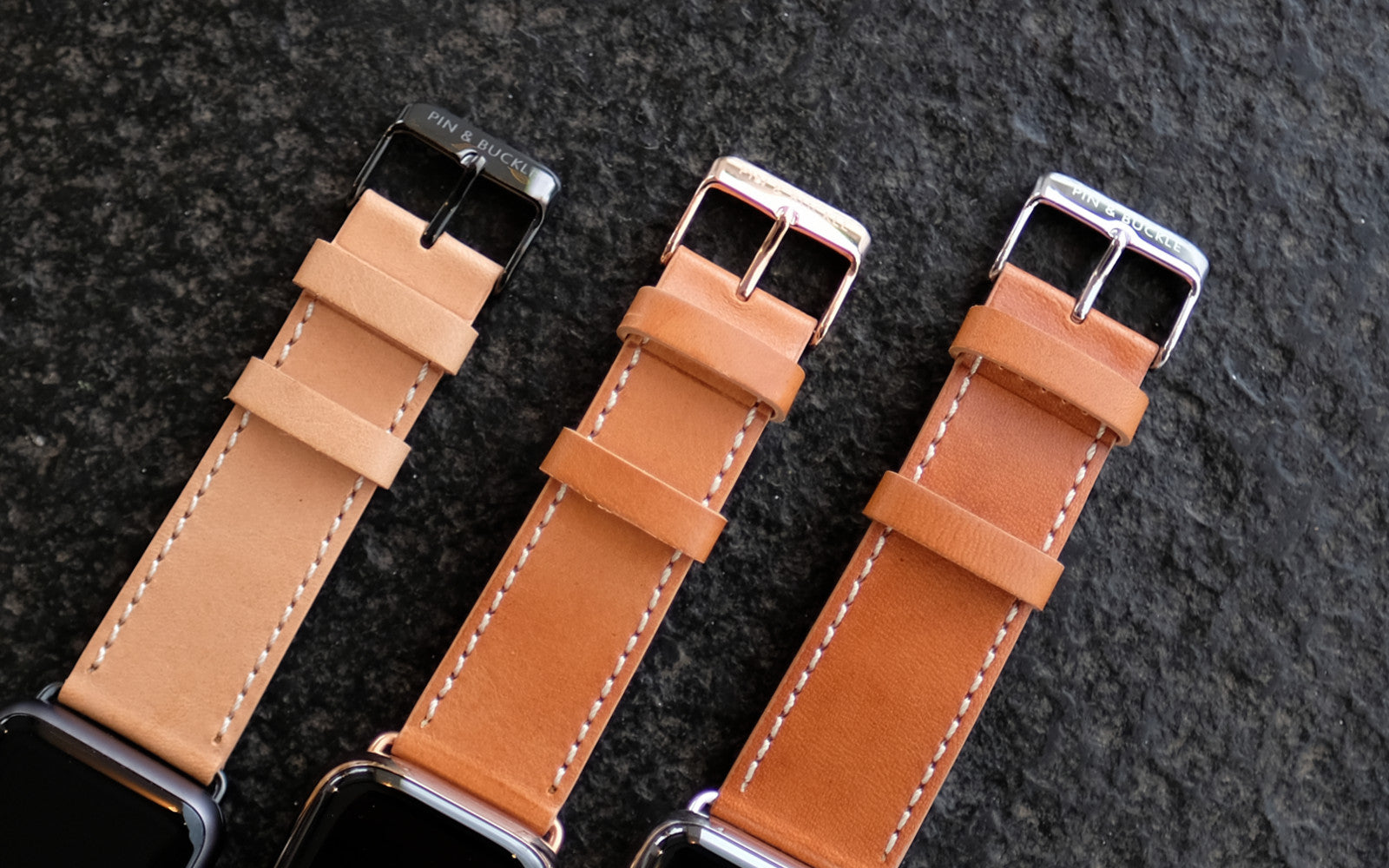 Pin and Buckle Vachetta Leather Apple Watch Band - Italian Full-Grain Leather - Patina