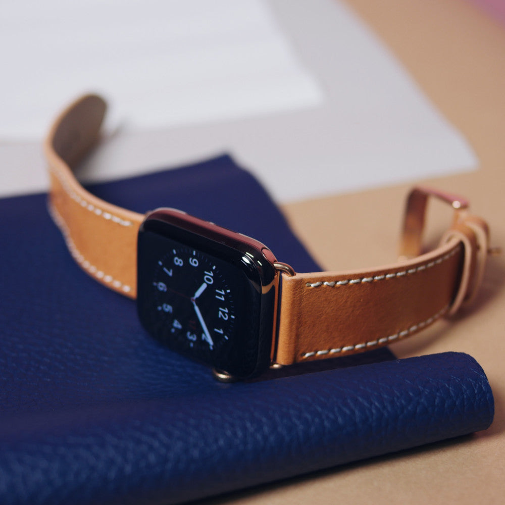 Pin and Buckle Vachetta Leather Apple Watch Band - Patina 3 Months