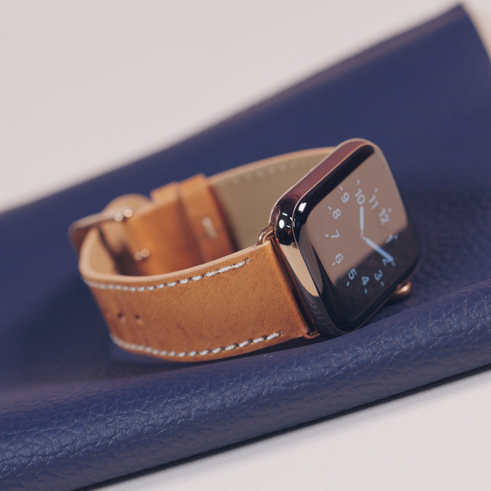 Pin and Buckle Vachetta Leather Apple Watch Band - Patina 6 Weeks