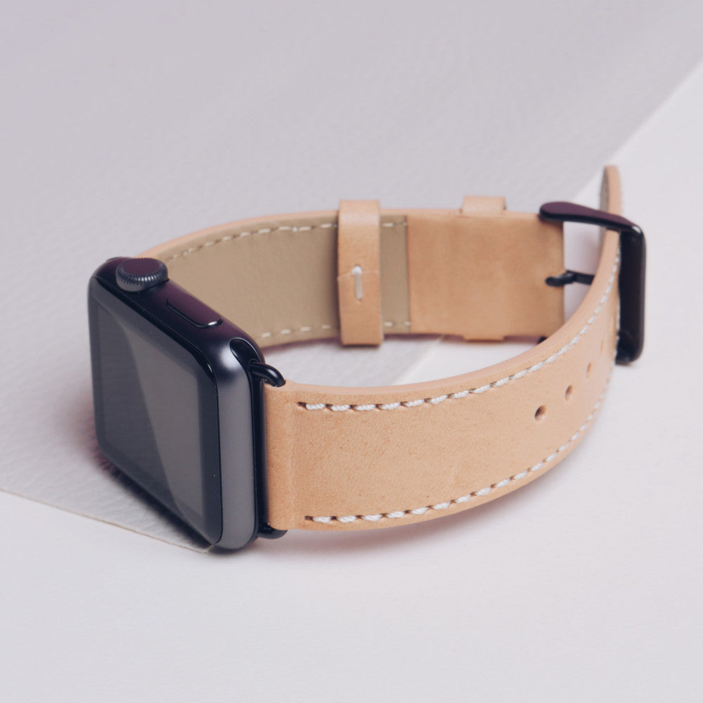 Pin and Buckle Vachetta Leather Apple Watch Band - Patina Day 1