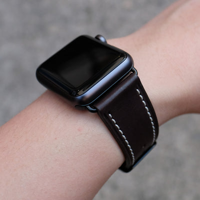 Barenia Leather Apple Watch Bands by Pin & Buckle - Dark Chocolate - Black Stainless Steel Hardware
