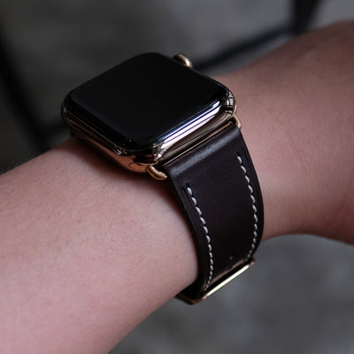 Barenia Leather Apple Watch Bands by Pin & Buckle - Dark Chocolate - Gold Stainless Steel Hardware