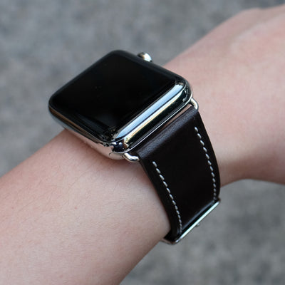 Barenia Leather Apple Watch Bands by Pin & Buckle - Dark Chocolate - Silver Stainless Steel Hardware