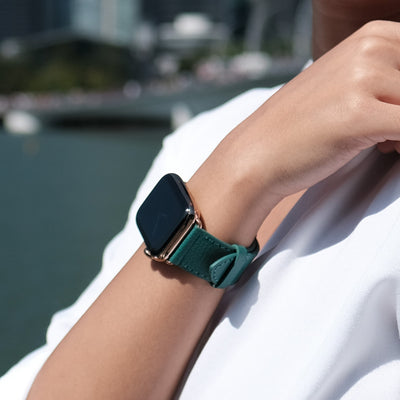 Pin and Buckle Apple Watch Bands - Epsom - Leather Apple Watch Band - Forest Green