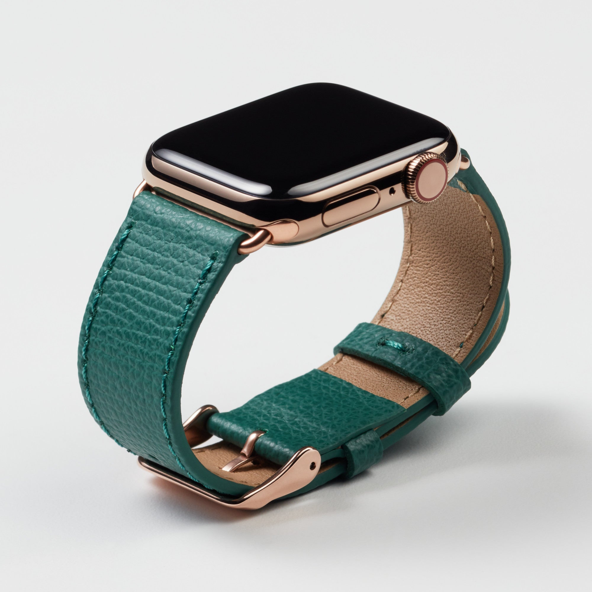 Pin and Buckle Apple Watch Bands - Epsom - Leather Apple Watch Band - Forest Green - Gold