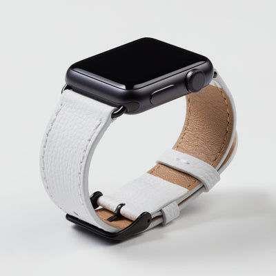 Pin and Buckle Apple Watch Bands - Epsom - Leather Apple Watch Band - Ivory White - Black