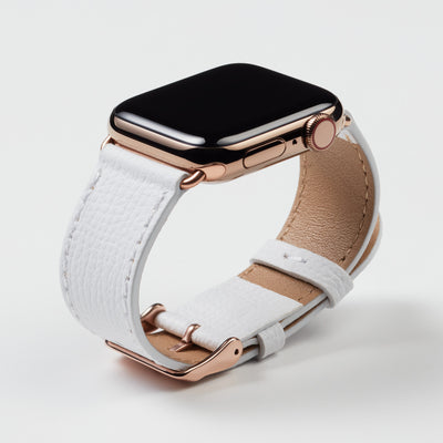 Pin and Buckle Apple Watch Bands - Epsom - Leather Apple Watch Band - Ivory White - Gold