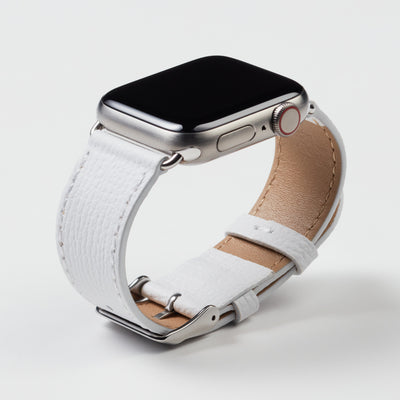 Pin and Buckle Apple Watch Bands - Epsom - Leather Apple Watch Band - Ivory White - Silver
