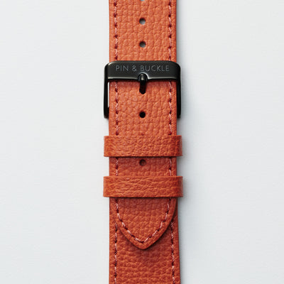 Pin and Buckle Apple Watch Bands - Epsom - Leather Apple Watch Band - Royal Orange - Black