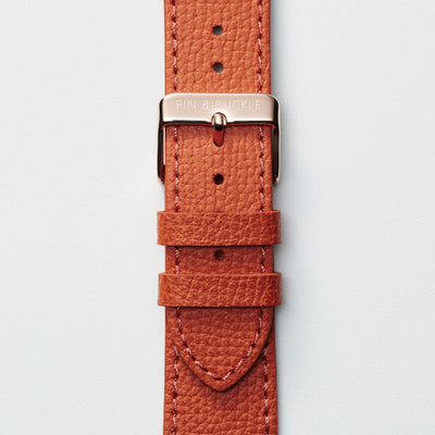 Pin and Buckle Apple Watch Bands - Epsom - Leather Apple Watch Band - Royal Orange - Gold