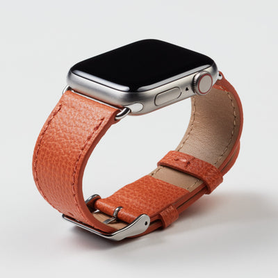 Pin and Buckle Apple Watch Bands - Epsom - Leather Apple Watch Band - Royal Orange - Silver