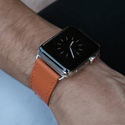 Pin and Buckle Apple Watch Bands - Epsom - Leather Apple Watch Band - Royal Orange