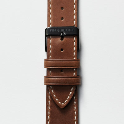 Pin and Buckle Apple Watch Bands - Full Grain Vegetable Tanned Leather - Luxe - Chestnut Brown - Black