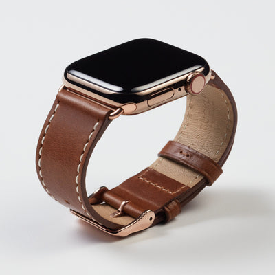 Pin and Buckle Apple Watch Bands - Full Grain Vegetable Tanned Leather - Luxe - Chestnut Brown - Gold