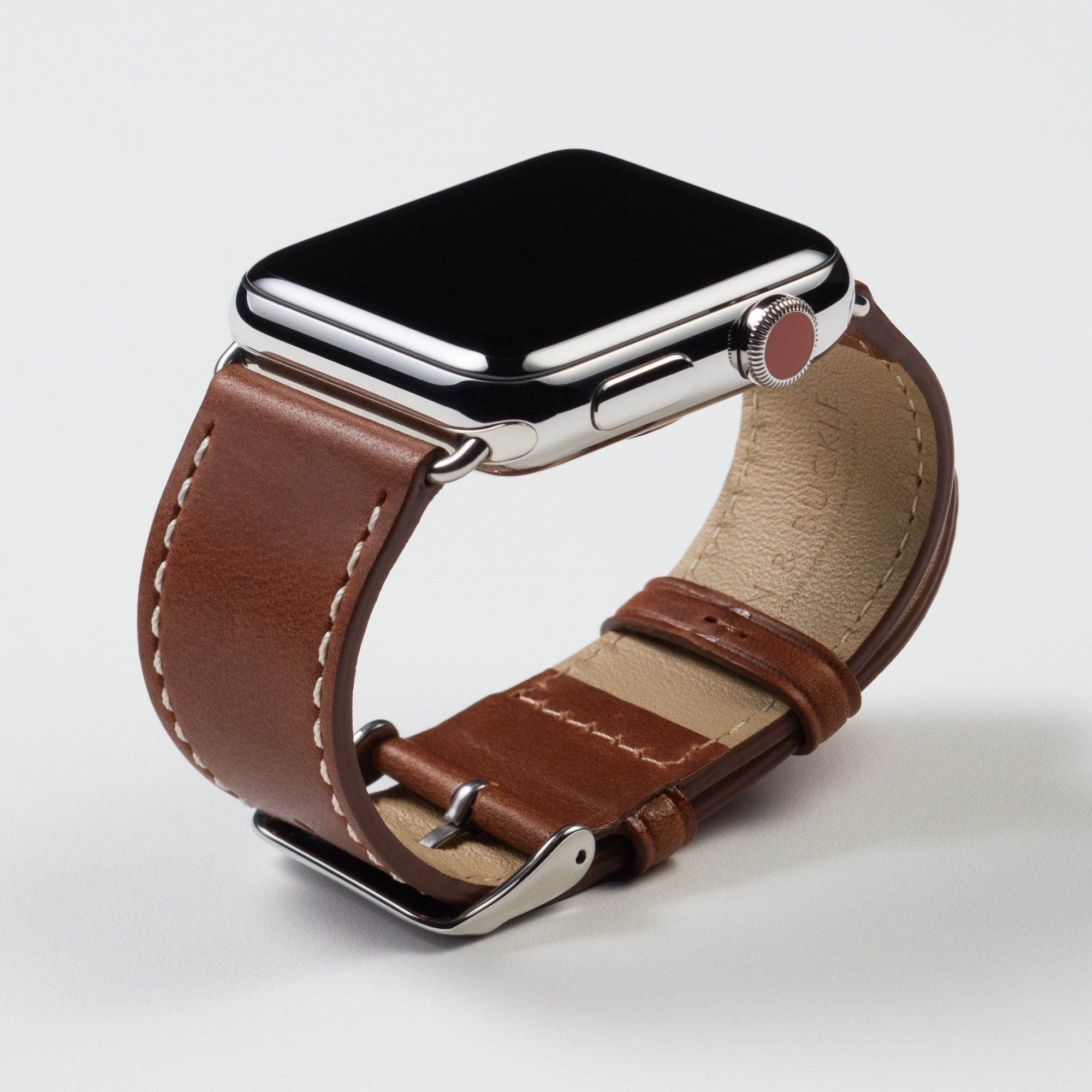 Pin and Buckle Apple Watch Bands - Full Grain Vegetable Tanned Leather - Luxe - Chestnut Brown - Silver