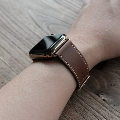 Pin and Buckle Apple Watch Bands - Full Grain Vegetable Tanned Leather - Luxe - Chestnut Brown - Wristshot - 1