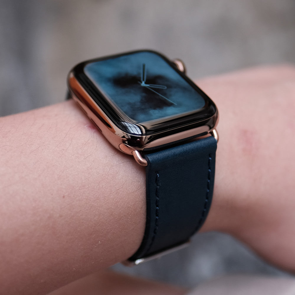 Pin and Buckle Apple Watch Bands - Full Grain Vegetable Tanned Leather - Luxe - Cobalt Blue