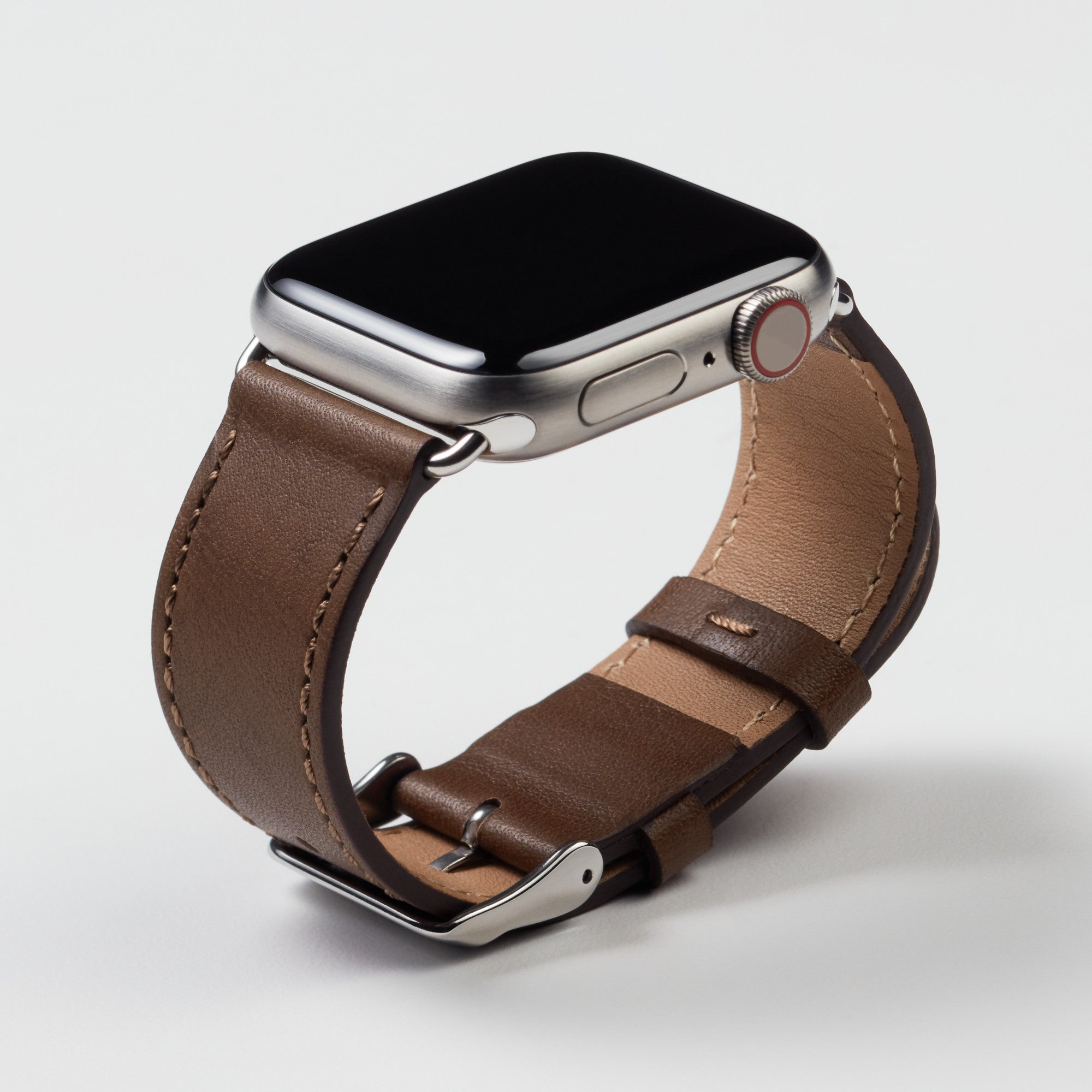 Pin and Buckle Apple Watch Bands - Full Grain Vegetable Tanned Leather - Luxe - Mocha Brown - Silver