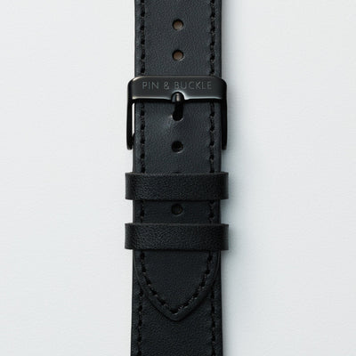 Pin and Buckle Apple Watch Bands - Full Grain Vegetable Tanned Leather - Luxe - Nero Black - Black