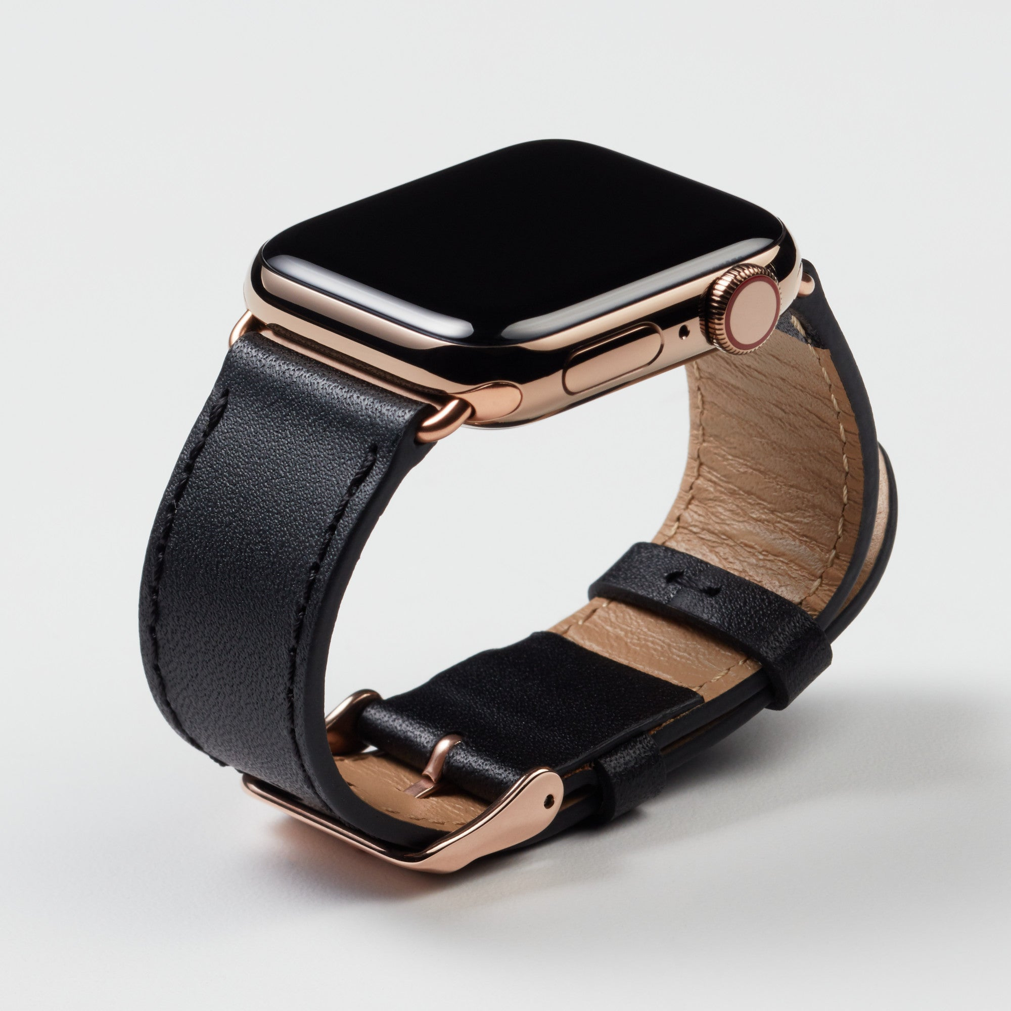 Pin and Buckle Apple Watch Bands - Full Grain Vegetable Tanned Leather - Luxe - Nero Black - Gold