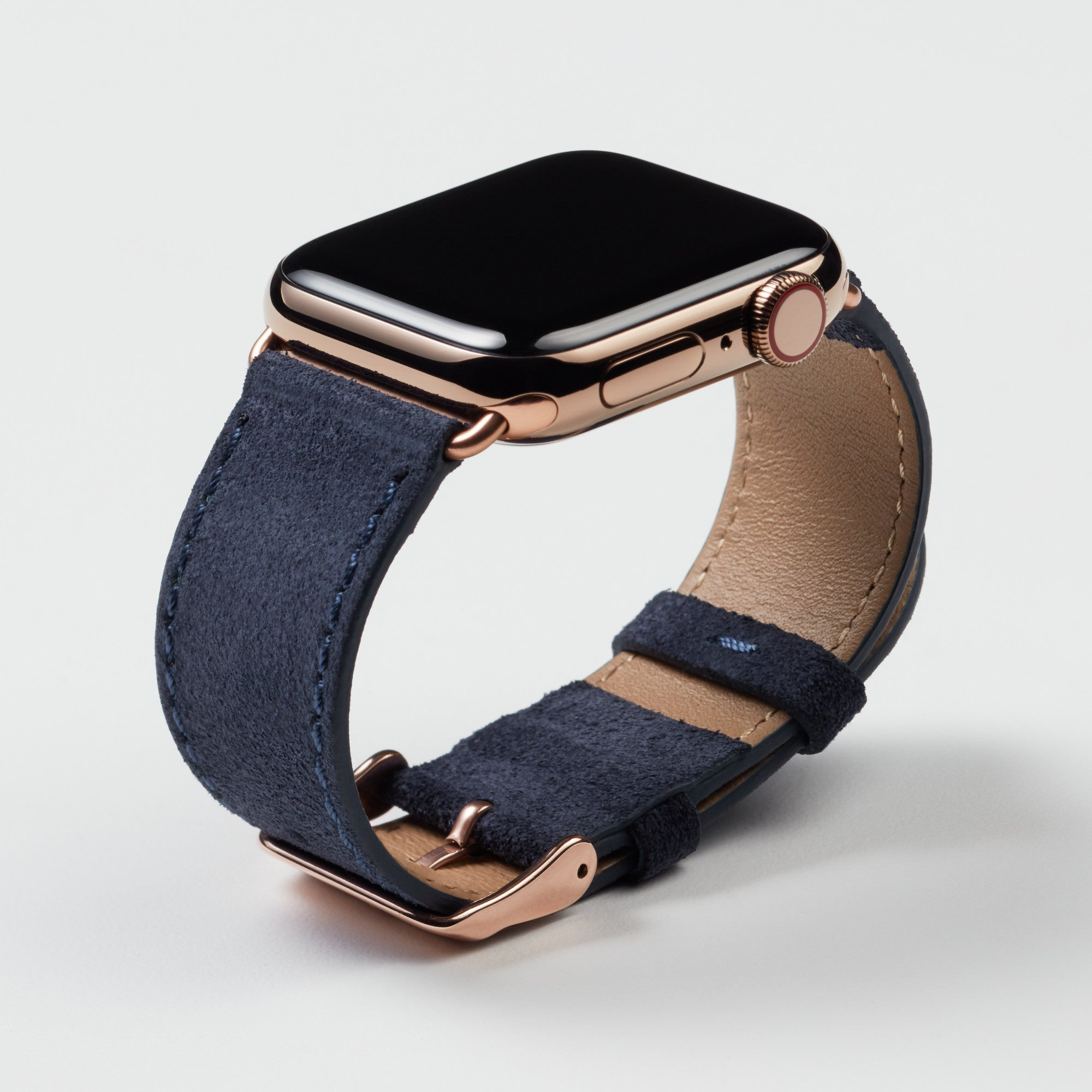 Pin and Buckle Apple Watch Bands - Velour - Suede Leather Apple Watch Band - Azure Blue - Gold